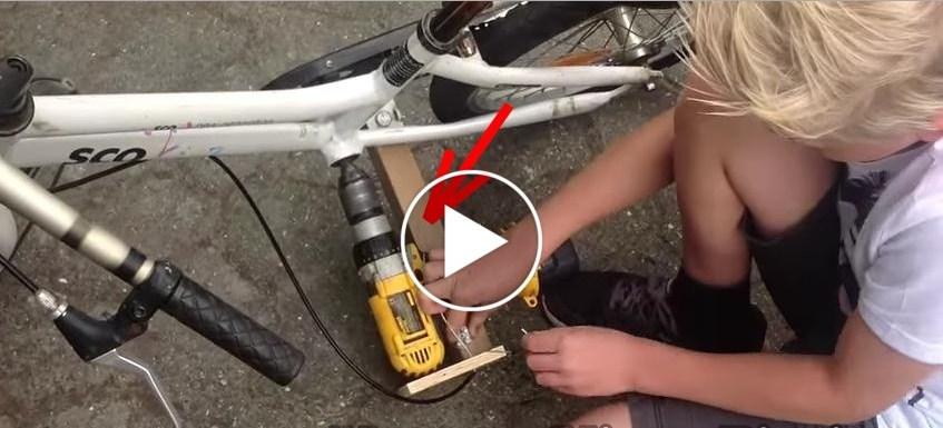 Ha collegato un trapano elettrico alla bici e in pochi minuti di lavoro ecco che meraviglia ha creato… WOW
