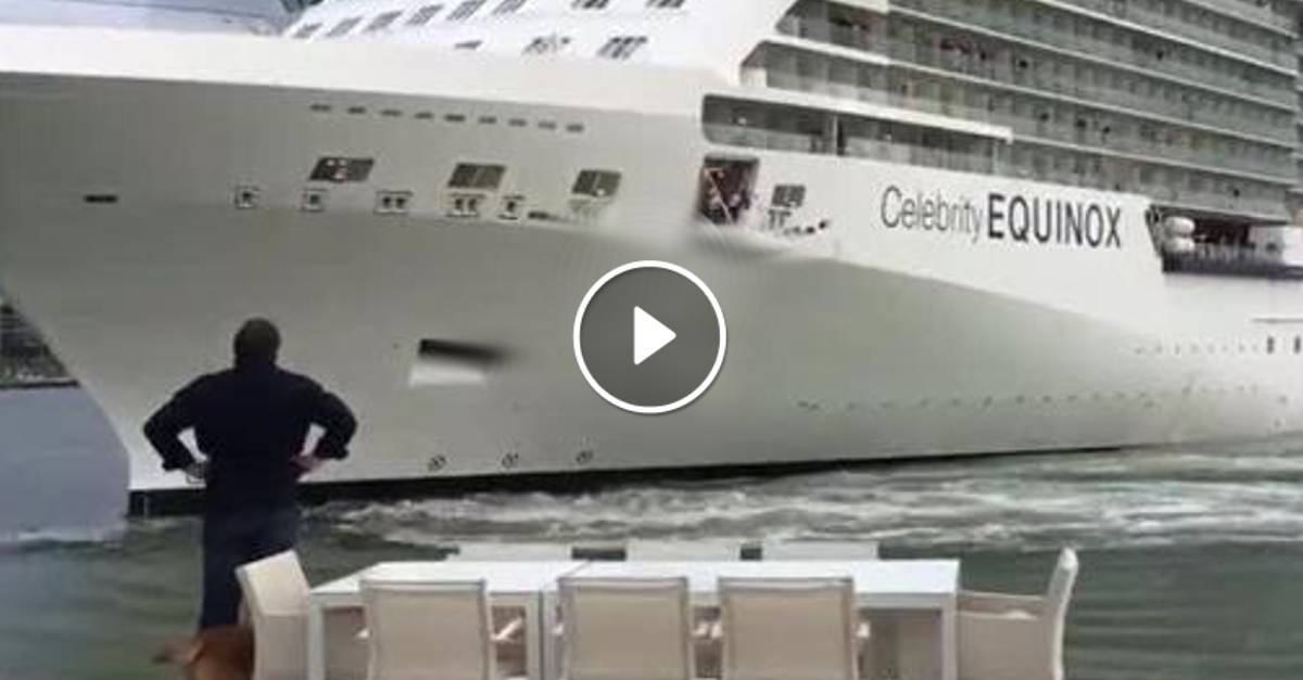 Una nave sta per entrargli in casa, l'uomo urla al comandante di allontanarsi: ecco il video incredibile!!