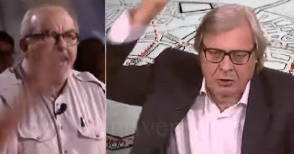 """Vauro-Sgarbi scoppiano scintille in tv e volano accuse: """"Comunista"""", """"criminale""""!!!"""