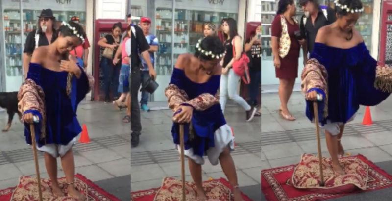 La donna levita per la strada e lascia increduli ai passanti