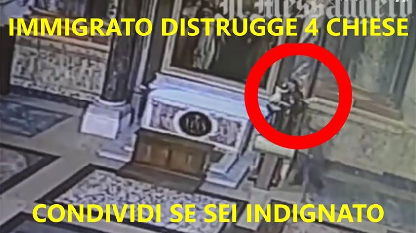 ROMA: AFRICANO ENTRA IN CHIESA E DEVASTA STATUE – VIDEO